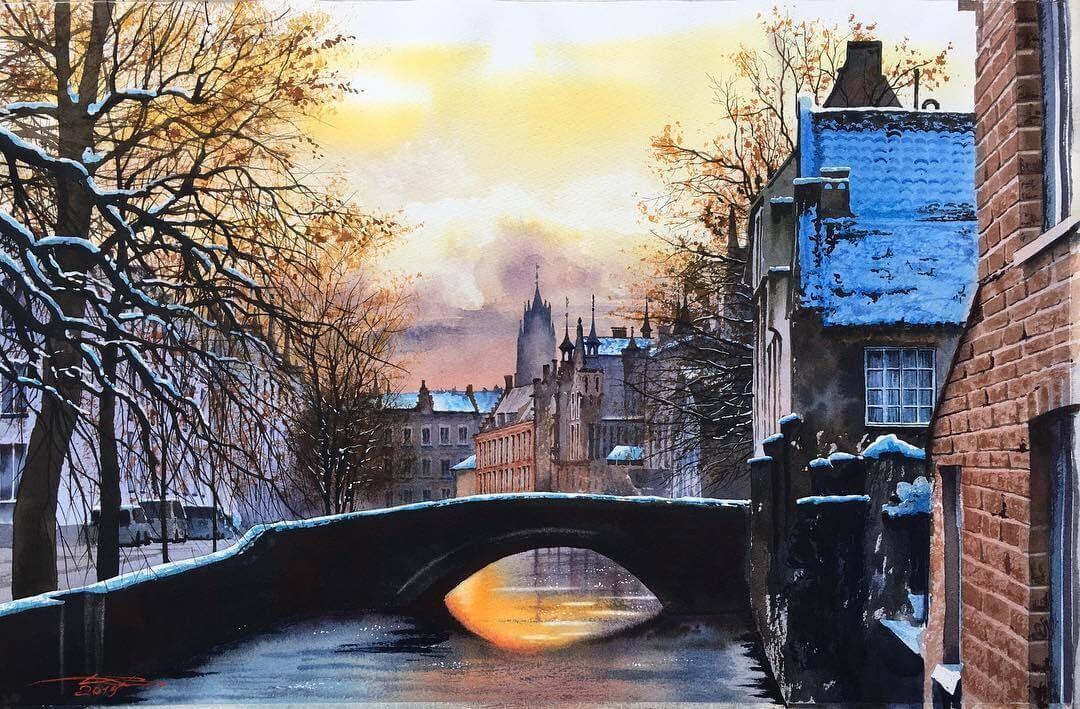 10-Bruges-Belgium-Igor-Dubovoy-Realistic-Urban-Watercolor-Paintings-www-designstack-co
