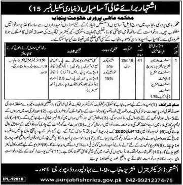 Jobs in Fisheries Department Punjab for Assistant