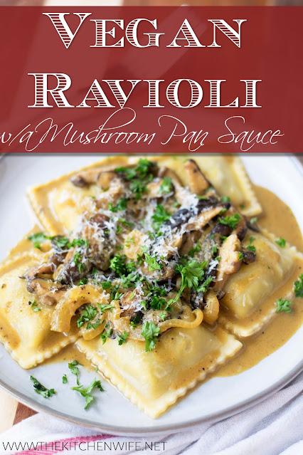 A plate of the vegan ravioli with mushroom pan sauce.