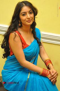 Telugu Actress Vaibhavi Stills in Blue Saree at Www.Meena Bazaar Movie Opening  0056.JPG