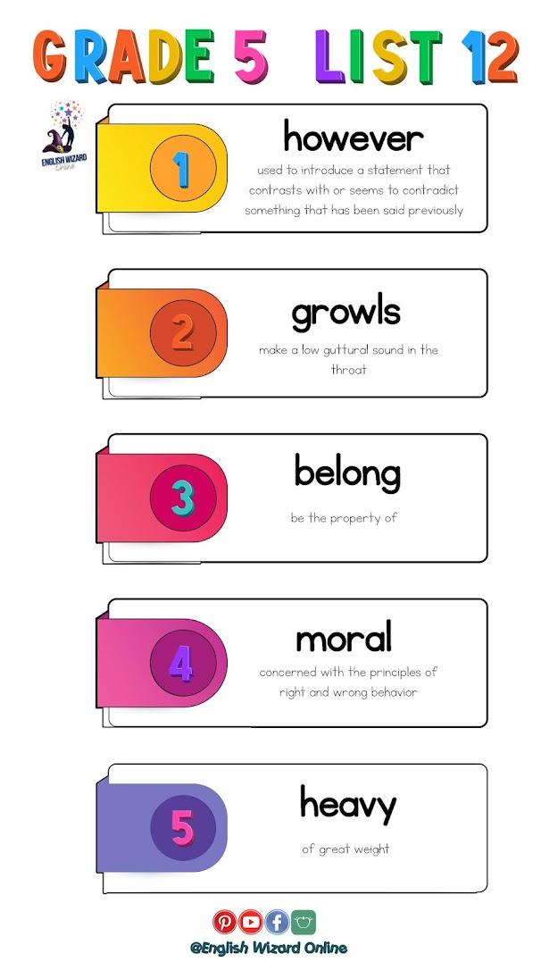 grade 5 spelling words