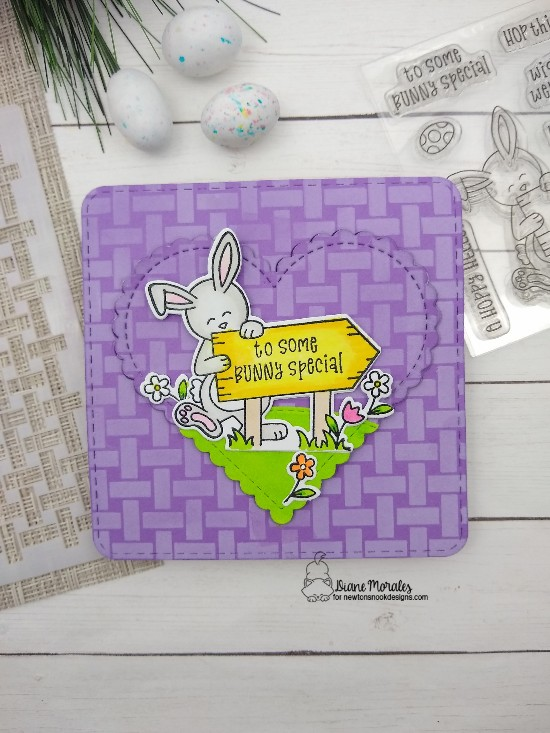 To some bunny special by Diane features Hoppy Greeetings, Basketweave, Frames Squared, Heart Frames, and Land Borders by Newton's Nook Designs; #newtonsnook, #inkypaws, #eastercards, #cardmaking