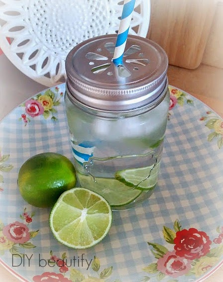 Mason Jar as a drinking glass www.diybeautify.com