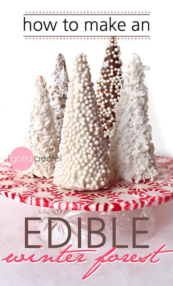 Love this beautiful candy forest for the holidays! | How to make an edible winter forest at I Gotta Create!