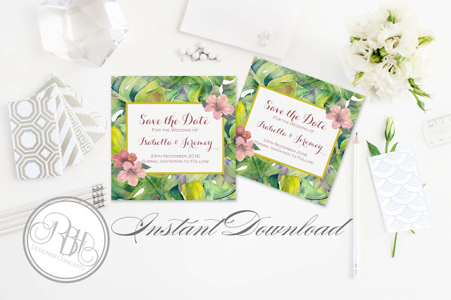tropical island watercolour save the date template by rbh designer concepts