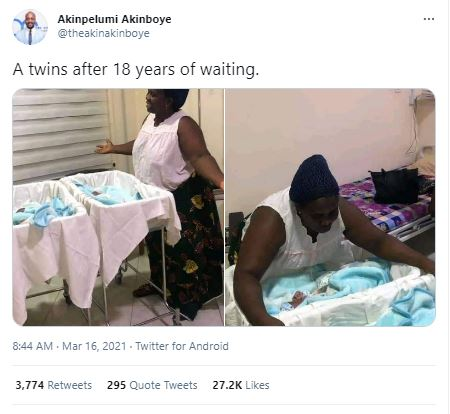 Woman gives birth to Twins after 18 years of marriage (Pictures)