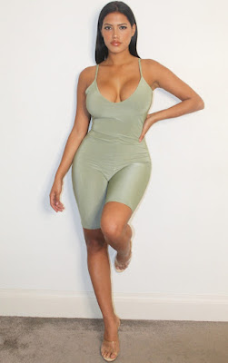 Shape sage green slinky double layer Bodysuit