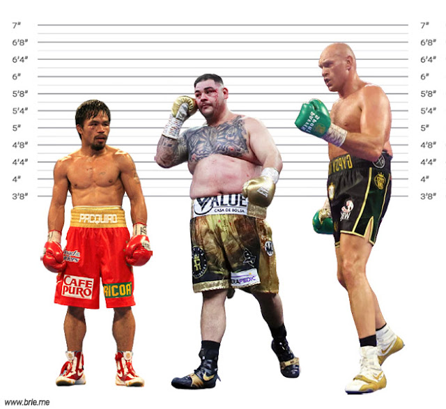 Andy Ruiz Jr. height comparison with Manny Pacquiao and Tyson Fury
