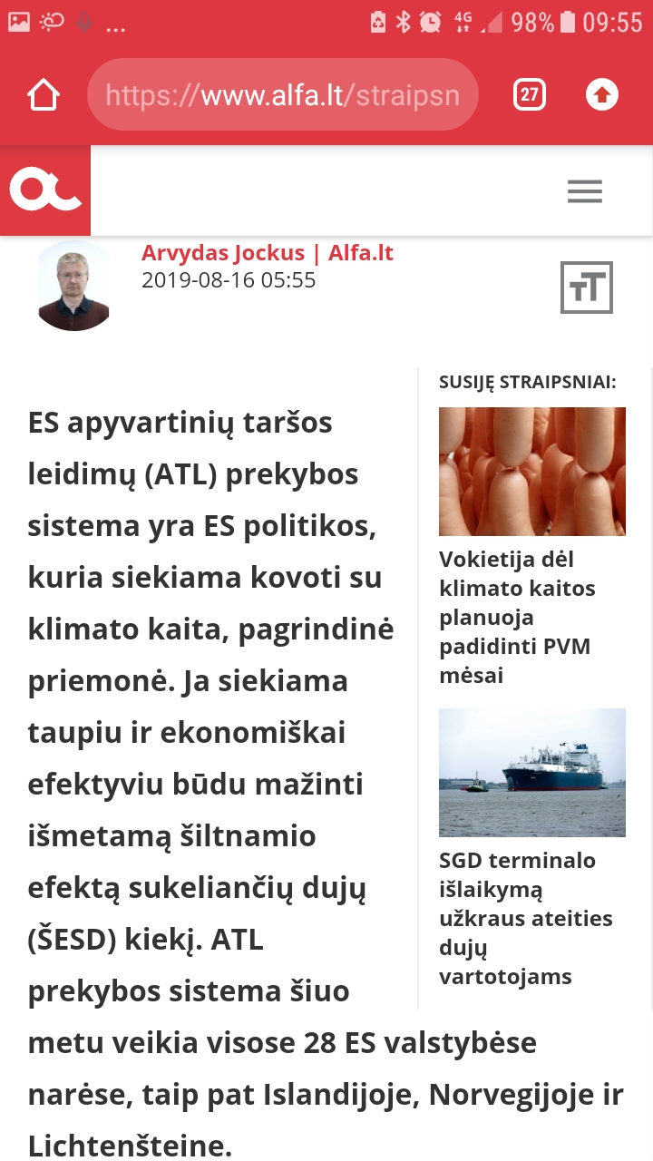 Prekybos apyvartiniais taršos leidimais sistemos naujienos