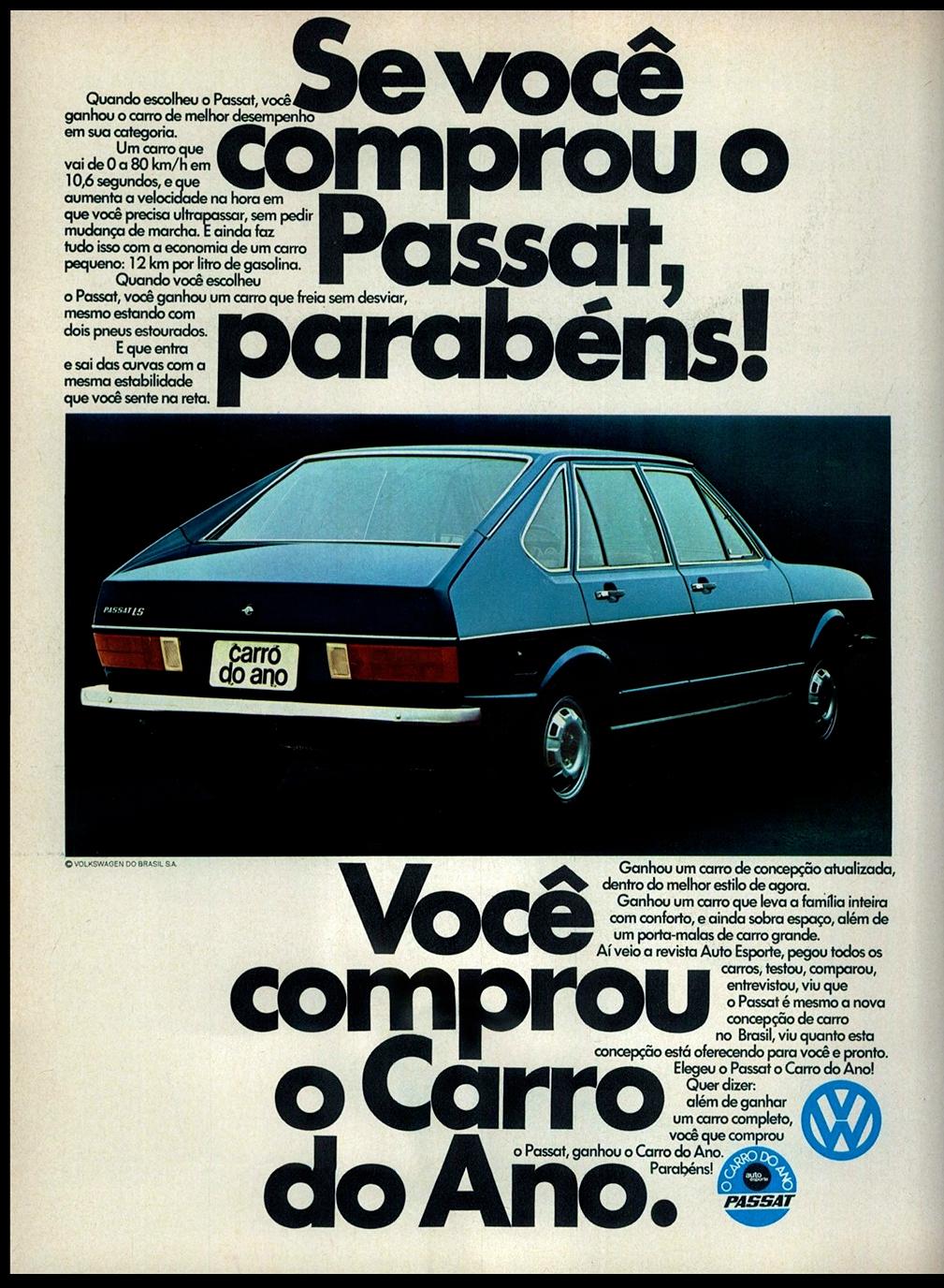 Anúncio antigo da Volkswagen promovendo o Passat como o carro do ano em 1975
