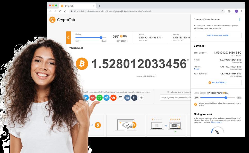 Yeni CryptoTab sürümüyle tanışın  Son birkaç aydır ekibimiz, CryptoTab Browser'da madencilik sürecini daha verimli ve kullanışlı hale getirmek için iyileştirmeler üzerinde çalışıyor. Madencilik algoritmasını, bir öncekine kıyasla aynı süre boyunca madencilikten üç kata kadar daha fazla kar elde etmeniz için optimize ettik. Değişiklikler en çok çok çekirdekli işlemci kullanıcılarını etkileyecek - optimizasyon ve iyileştirilmiş sistem ayarları sayesinde algoritma işlemci gücünü daha verimli kullanmaya başladı. Bu, bilgisayar kaynaklarınızın kullanımını azaltırken madencilik hızını artırmanıza olanak tanır, böylece tarayıcı yeteneklerini tam olarak kullanabilir ve aynı anda madencilik yapabilirsiniz. Madenciliği herkes için basit ve kolay hale getirmek için yeni kullanışlı seçenekler ekleyerek arayüz öğelerini yeniden düzenledik. CryptoTab'in yeni sürümüyle daha da hızlı ve rahat madenciliğin tadını çıkarın!  CryptoTab mobil sürümü  Bitcoin madenciliği, büyük ekipman gerektiren pahalı bir süreçti. CryptoTab sizin için kuralları değiştirdi ve madenciliği bir tarayıcıda yeni bir sekme açmaktan daha kolay hale getirdi.  CryptoTab Browser Mobile, madenciliği herkes için kullanılabilir hale getirmek için bir adım önde. Artık bir akıllı telefonu veya tableti olan herkes bitcoin kazanabilir ve kripto para biriminin büyümesine katkıda bulunabilir.  Zaten masaüstünüzde CryptoTab kullanıyor musunuz? Bilgisayarınızda halihazırda bitcoin madenciliği yapıyor olsanız bile, ekstra kar elde etme şansını kaçırmayın - mobil versiyonun avantajları vardır.  Madencilik geliri artışı Sadece cep telefonunuzu veya tabletinizi kullanarak para kazanın! Her çevrimiçi olduğunuzda gelir elde edersiniz.  Tanıtımı kolay Kişisel bağlantınızı paylaşın, paylaşımlar yapın ve arkadaşlarınızı davet edin. Kişilerinize, sosyal ağ hesaplarınıza ve promosyon materyallerine erişin - hepsi tek bir cihazda ve her zaman elinizin altında! Hesap kontrol paneliniz Bakiyenizi kontrol edin, hesap tercihlerinizi yöneti
