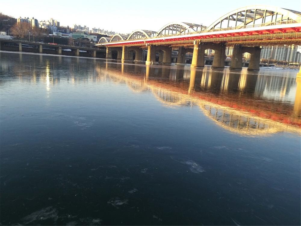 북극발 한파로 인해 새해 1월 9일 한강 결빙