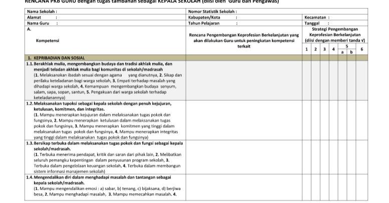 Format Penilaian Kinerja Berkelanjutan Pkb Untuk Kepala Sekolah Berkas Sekolah