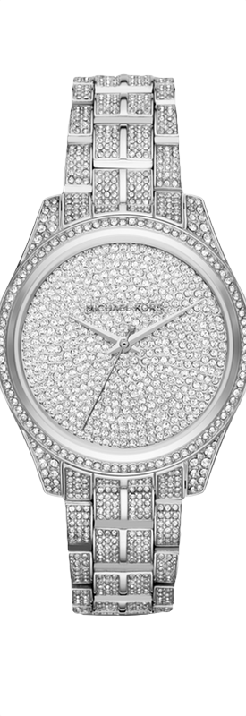 MICHAEL KORS Lauryn Pavé Silver-Tone Watch shown in Silver