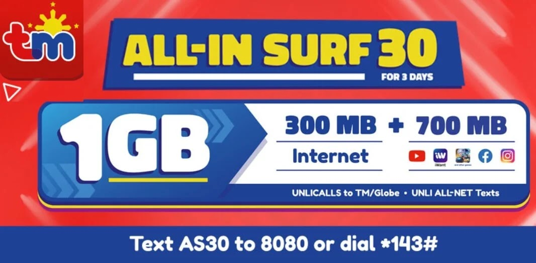 TM ALL-IN SURF 30 with Unli Calls, Unli Texts, 1GB Data Valid for 3 Days for Only 30 Pesos