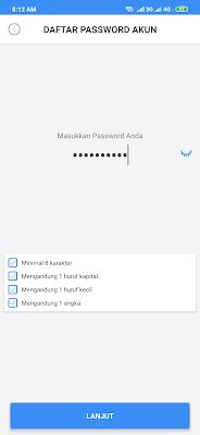 membuat password dari aplikasi Payfazz Android