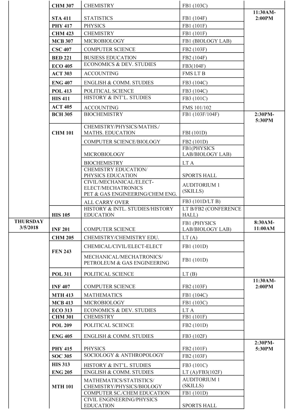 FUOTUOKE Examination Timetable for 1st Semester 2017/2018