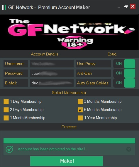 The GF Network - Premium Account Maker