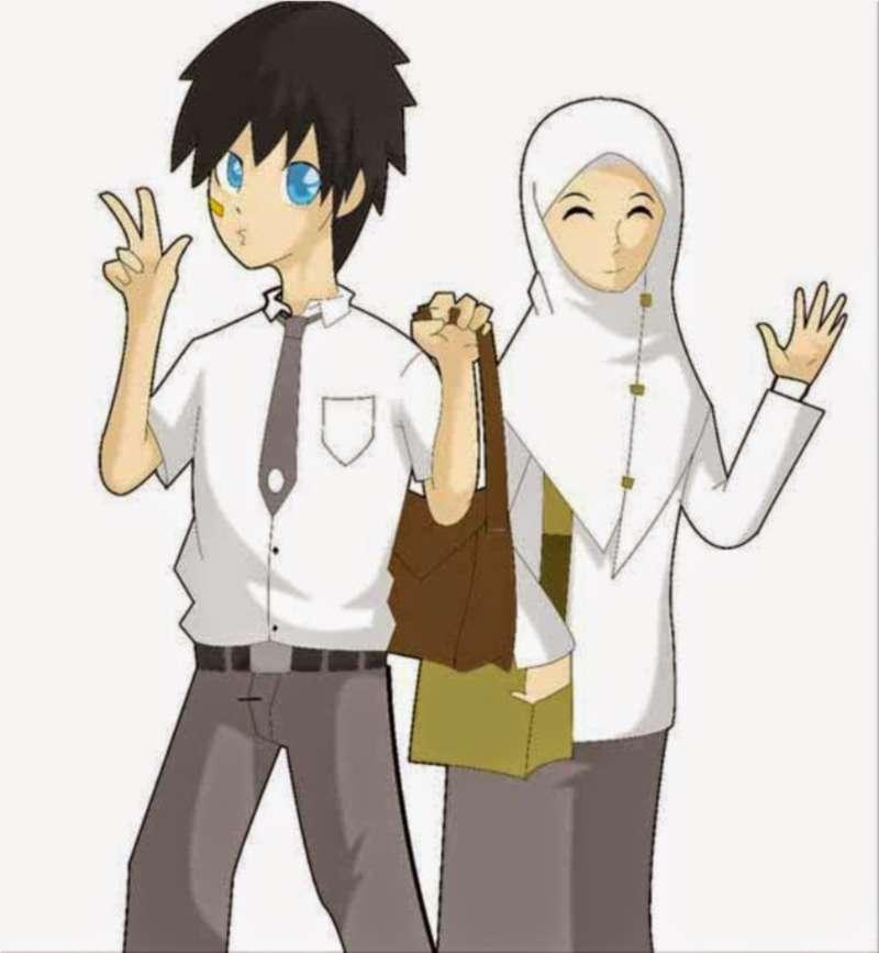 Gambar Kartun Muslimah Bercadar Bersama Teman Mslim Anime