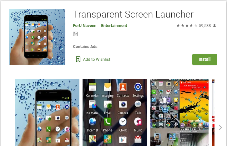 transparent screen apps for smartphone