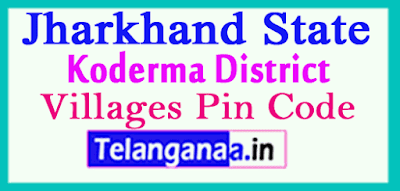 Koderma District Pin Codes in Jharkhand State