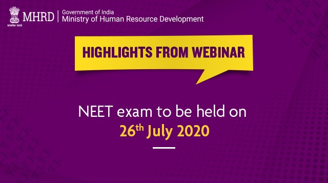 Highlights from today's webinar for students. Attention #NEET aspirants!  Cheering megaphoneNEET 2020 will be conducted on 26th July 2020.
