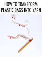 Recycle plastic bags into plarn, then use it to crochet or knit