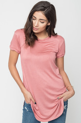 Buy Now Coral Round Neck Tunic Tees Online $16 -@caralase.com