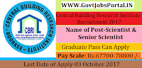 Central Building Research Institute Recruitment 2017– 19 Scientist/Senior Scientist