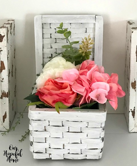 white painted basket peonies flowers container