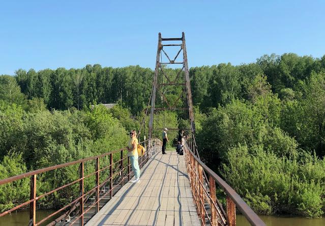 Подвесной вантовый пешеходный мост через Иню - о.п. Льниха