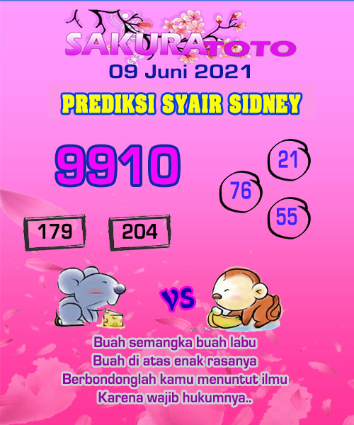 Syair Sakuratoto Sidney Rabu 09 Juni 2021