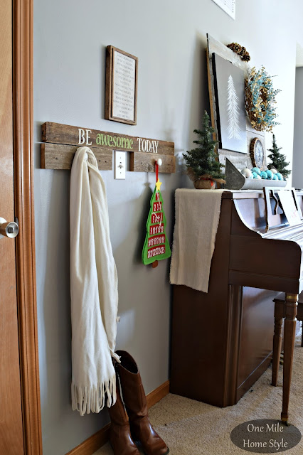 Silver and Blue Christmas Entryway Decor | Christmas Home Tour - One Mile Home Style