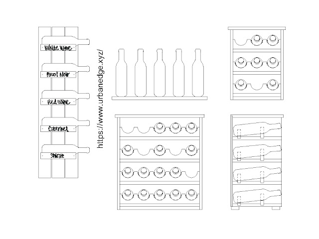 Wine rack cad blocks download, Wine rack dwg