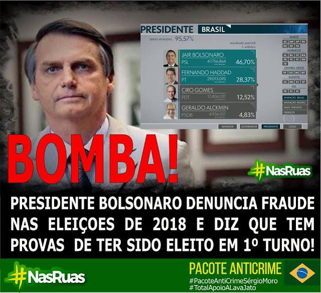 Resultado de imagem para bolsonaro denuncia fraude eleitoral