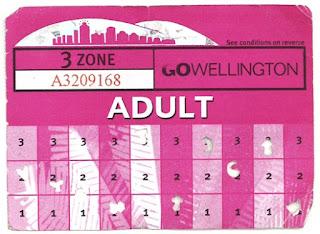 Wellington '10 trip' paper bus ticket (front)
