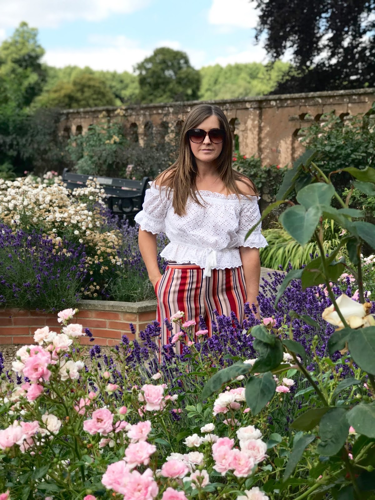 Striped culottes from Primark \ Broderie anglaise white bardot top \ white sandals