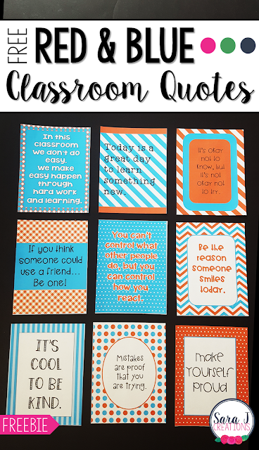 Free printable motivational quotes for the classroom with a fun red and turquoise blue theme.