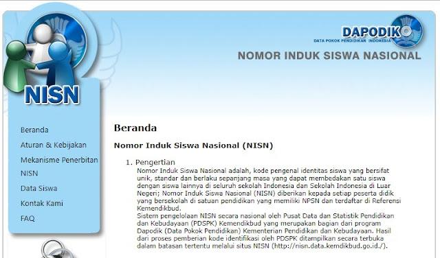 Situs NISN di nisn.kemdikbud,go.id