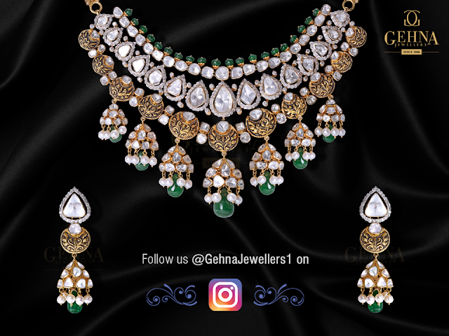 Polki Antique Necklace by Gehna Jewellers