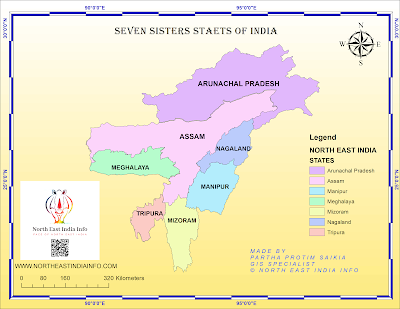 seven-sisters states map of India/Northeast India Map