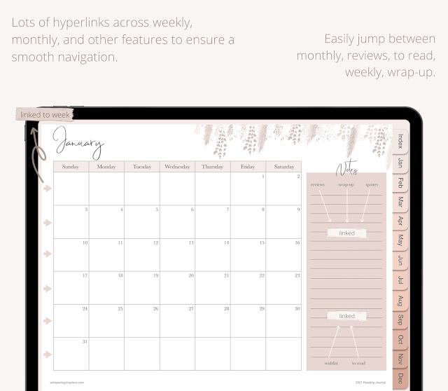 monthly spread calendar digital reading journal