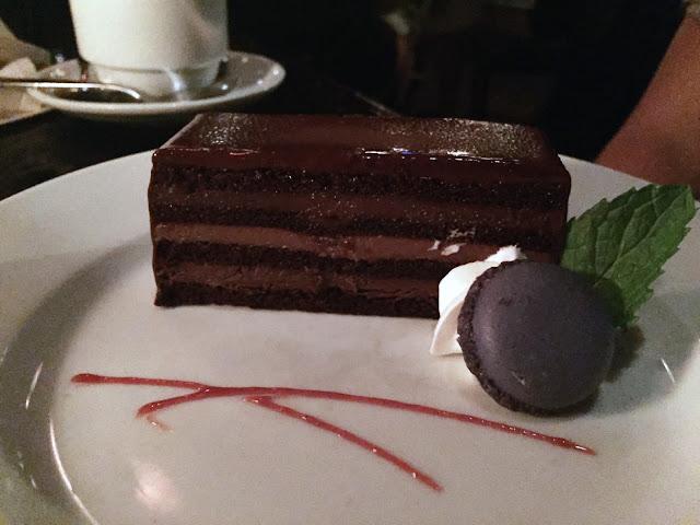 disneyland blue bayou dessert menu 8-Layer chocolate hazelnut cake
