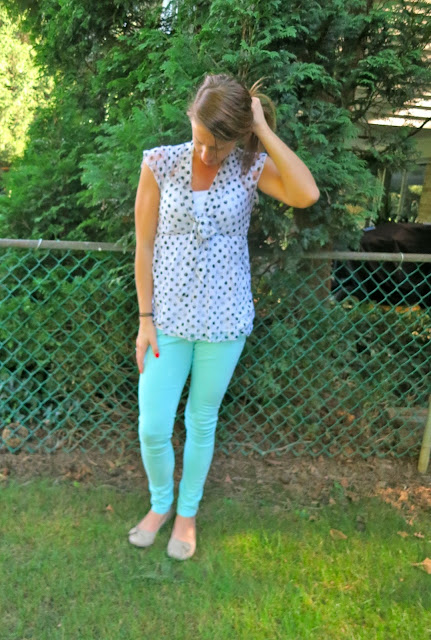 Mint pants polka dot shirt outfit