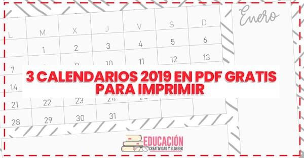 ▷ 3 calendarios 2019 en PDF gratis para imprimir 【Descargar】