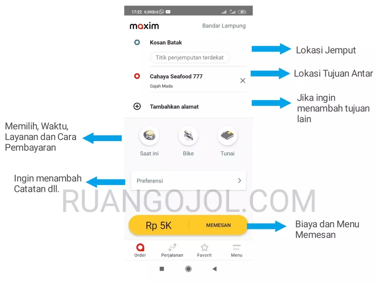 Cara order maxim bike dan car