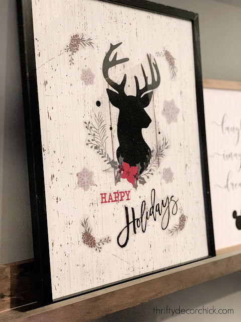 Christmas window cling art black reindeer