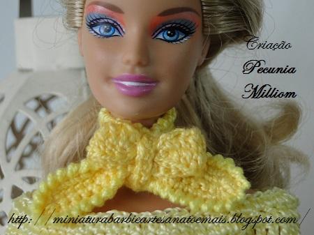 Lenço de crochê para Barbie