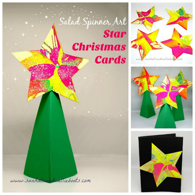 this year shes created some stunning sparkly christmas stars with a salad spinner a perfect mess free activity for all ages to enjoy - Art Christmas Cards