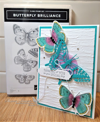 Rhapsody in Craft, Bermuda Bay, Butterfly Brilliance, Butterfly Brilliance Bundle, Brilliant Wings, Inspired Thoughts, Bark 3D Embossing Folder, In Color Shimmer Vellum, Lovely Labels Pick A Punch, #colourcreationsbloghop, Stampin' Up!, Annual Catalogue 2021
